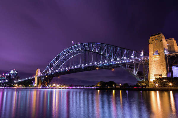 Photograph - Sydney Harbour Bridge In Purple by John Daly