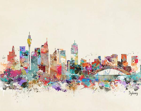 Australia Painting - Sydney Skyline Australia by Bri Buckley