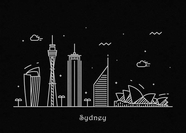 Monument Drawing - Sydney Skyline Travel Poster by Inspirowl Design