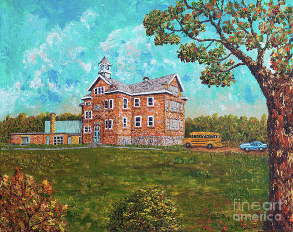 North Dakota Painting - Sykeston High School by Linda Donlin
