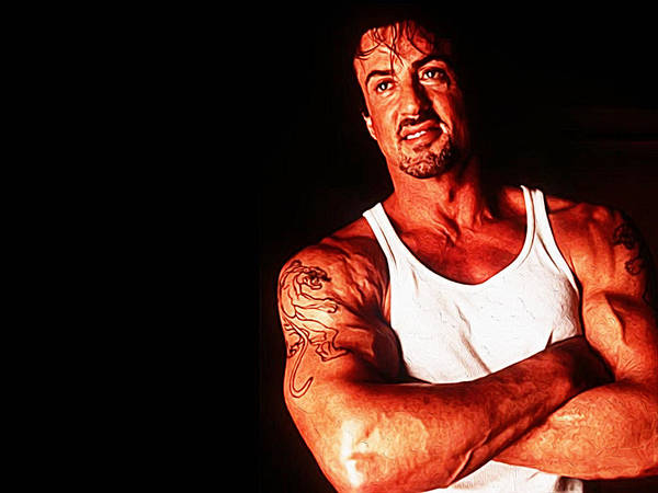 Dwayne Johnson Wall Art - Painting - Sylvester Stallone by Queso Espinosa