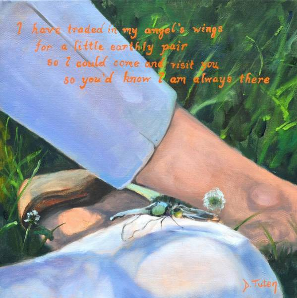 Japanese Poetry Painting - Symbolic Dragonfly by Donna Tuten