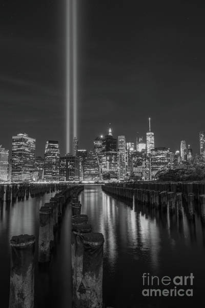 September 11 Attacks Photograph - Symbols Of Freedom Bw by Michael Ver Sprill