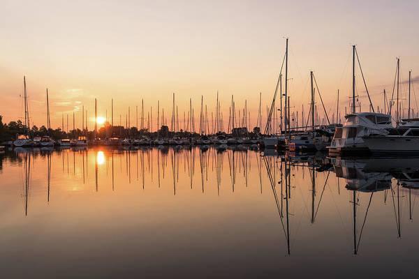 Photograph - Symmetrical Peace - Catching The Sunrise At A Local Yacht Club by Georgia Mizuleva