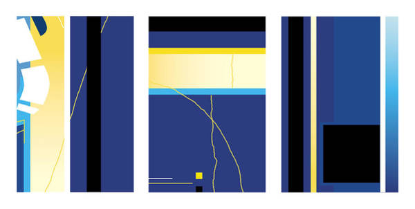 Digital Art - Symphony In Blue - Triptych2 by David Hargreaves