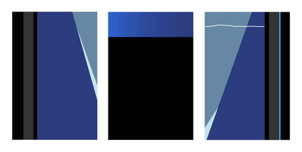 Digital Art - Symphony In Blue - Triptych 3 by David Hargreaves