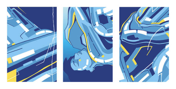 Digital Art - Symphony In Blue - Triptych 4 by David Hargreaves