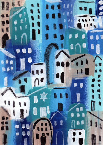 Jewish Art Wall Art - Painting - Synagogue- City Stories by Linda Woods