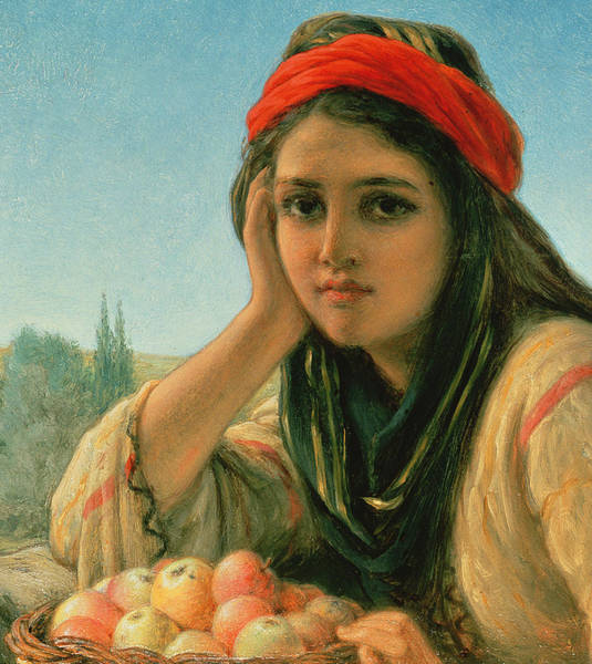 Red Apples Painting - Syrian Fruit Seller by William Gale