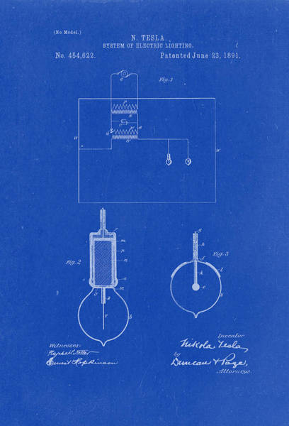 Artful Drawing - System Of Electric Lighting - Nikola Tesla Patent Drawing From 1891 - Blueprint by Patently Artful