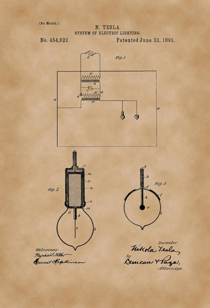 Artful Drawing - System Of Electric Lighting - Nikola Tesla Patent Drawing From 1891 - Vintage Paper by Patently Artful
