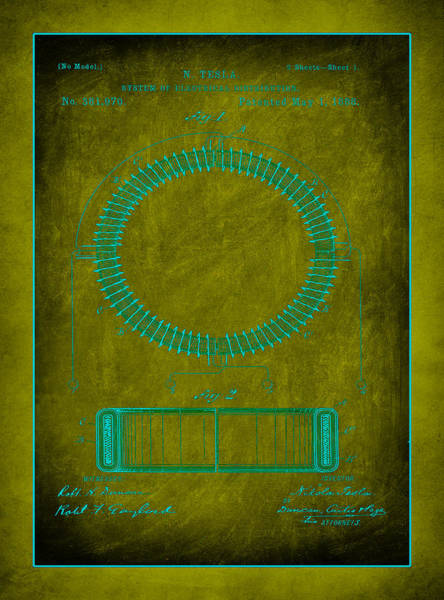 Converter Mixed Media - System Of Electrical Distribution Patent Drawing 1d by Brian Reaves