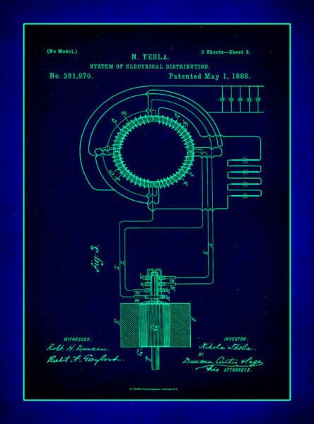 Converter Mixed Media - System Of Electrical Distribution Patent Drawing 2a by Brian Reaves