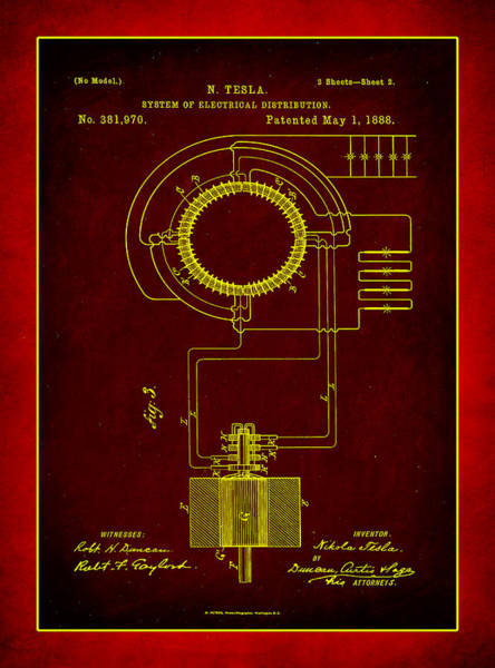 Converter Mixed Media - System Of Electrical Distribution Patent Drawing 2b by Brian Reaves