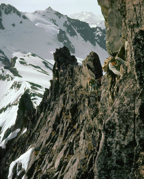 Photograph - T-04401 Don Gordon And Fred Beckey On First Ascent East Ridge Forbidden Peak by Ed Cooper Photography