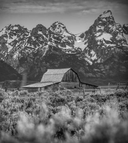 Photograph - T A Moulton Barn Black And White by Dan Sproul