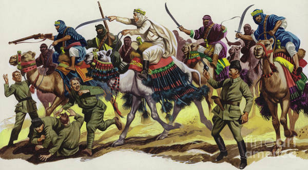 Wall Art - Painting - T E Lawrence Leading An Arab Attack by Ron Embleton