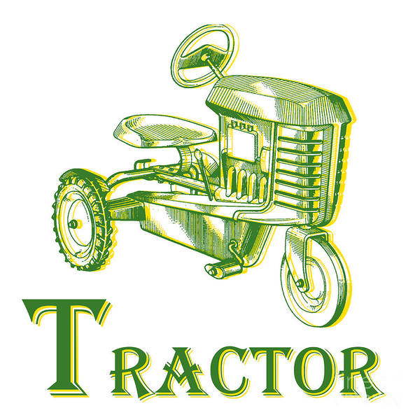 Ink Photograph - T Is For Tractor by Edward Fielding