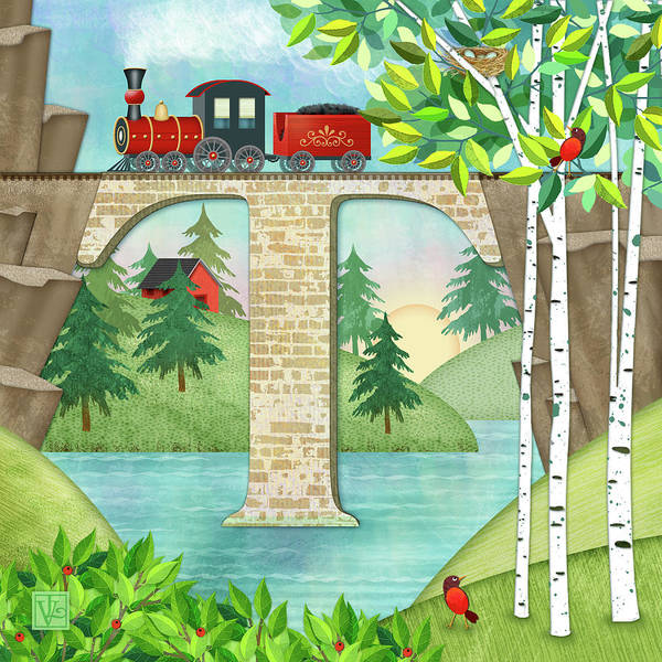 Digital Art - T Is For Train And Train Trestle by Valerie Drake Lesiak