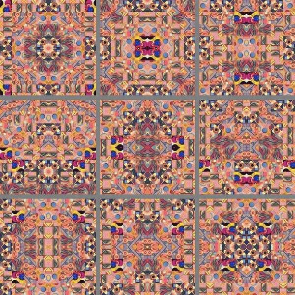 Painting -  T J O D Mandala Series Puzzle Variations 1-9 by Helena Tiainen