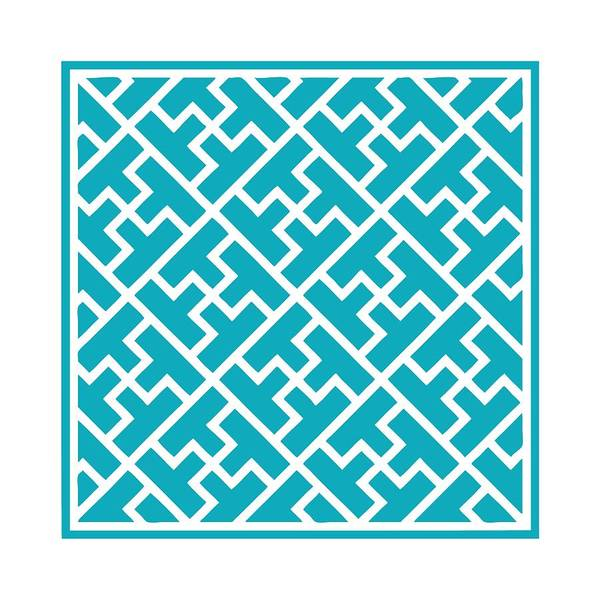 Robin's Egg Blue Digital Art - T-maze With Border In Robin's Egg Blue by Custom Home Fashions