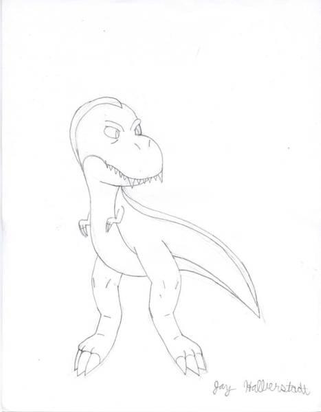 Drawing - T-rex by Jayson Halberstadt