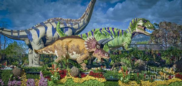 Tournament Of Roses Photograph - T. Rex  Triceratops  Mamenchisaurus by David Zanzinger