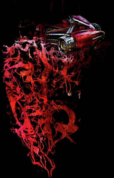 Photograph - T Shirt Deconstruct Red Cadillac by Glenda Wright