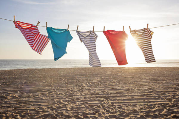Horizontal Stripes Photograph - T-shirts Hanging On A Clothesline At The Beach by Siri Stafford