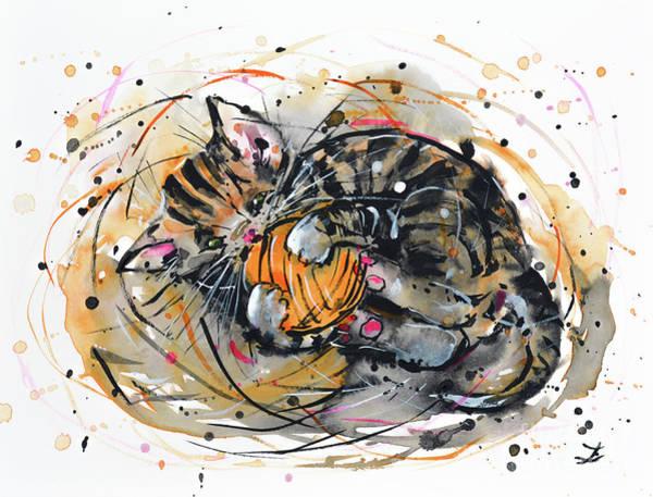 Wall Art - Painting - Tabby Kitten Playing With Yarn Clew  by Zaira Dzhaubaeva
