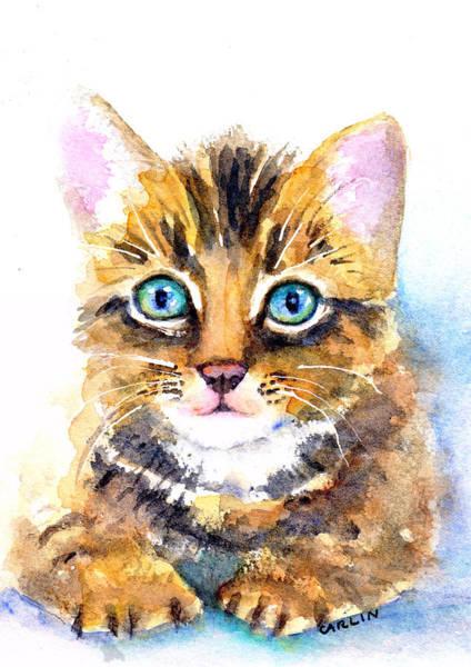 Painting - Tabby Kitten Watercolor by Carlin Blahnik CarlinArtWatercolor