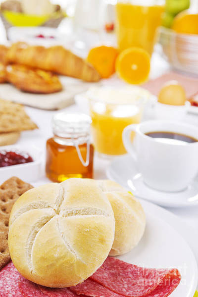 Cinnamon Buns Photograph - Table Full With Continental Breakfast Items, Brightly Lit by Sara Winter