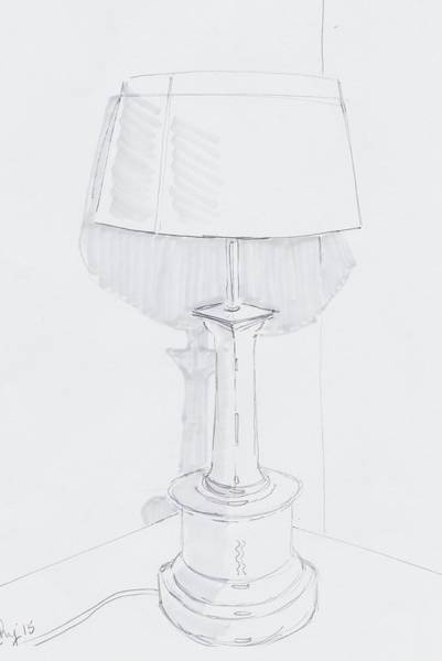 Drawing - Table Lamp Drawing - A Quiet Corner by Mike Jory