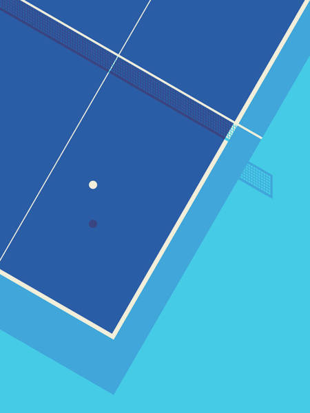 Wall Art - Digital Art - Table Tennis Ping Pong Table - Cyan by Ivan Krpan