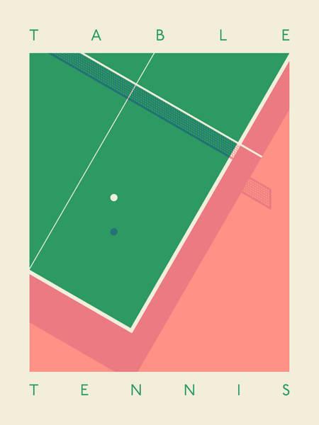 Ball Digital Art - Table Tennis Ping Pong Table - Text Salmon by Ivan Krpan