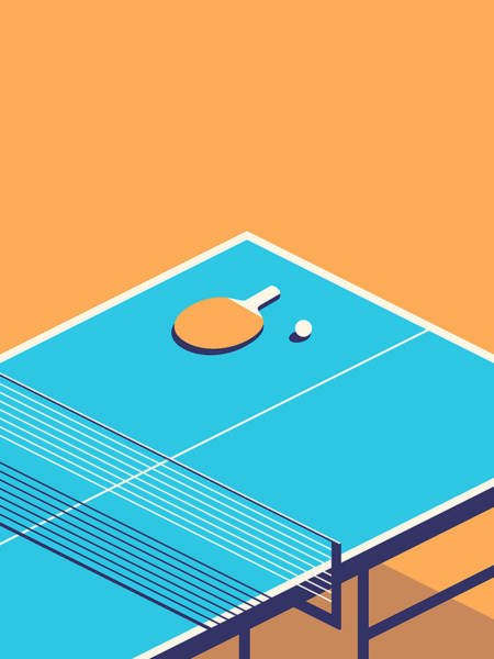 Wall Art - Digital Art - Table Tennis Table Isometric - Orange by Ivan Krpan