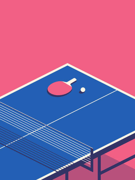 Wall Art - Digital Art - Table Tennis Table Isometric - Red by Ivan Krpan