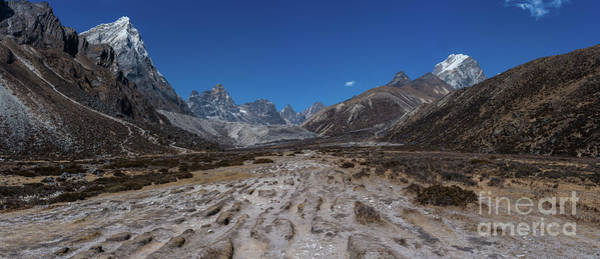 Nepal Wall Art - Photograph - Tabuche And Awi Peak With The Trail To Pheriche Down The Middle by Mike Reid