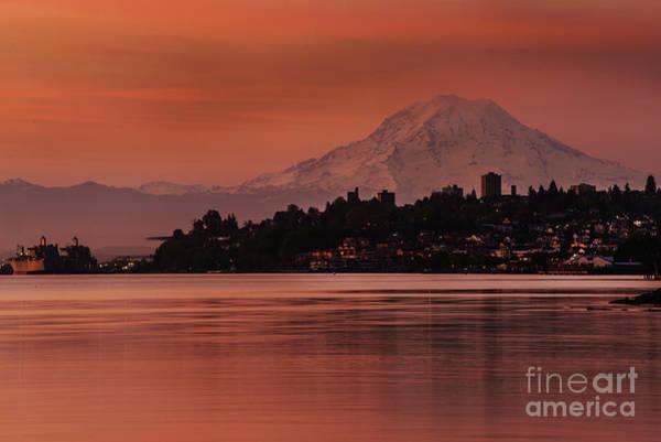 Mount Rainier Photograph - Tacoma Bay Mount Rainier Sunrise by Mike Reid