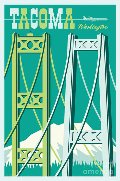 Portland Digital Art - Tacoma Poster - Vintage Style Travel  by Jim Zahniser