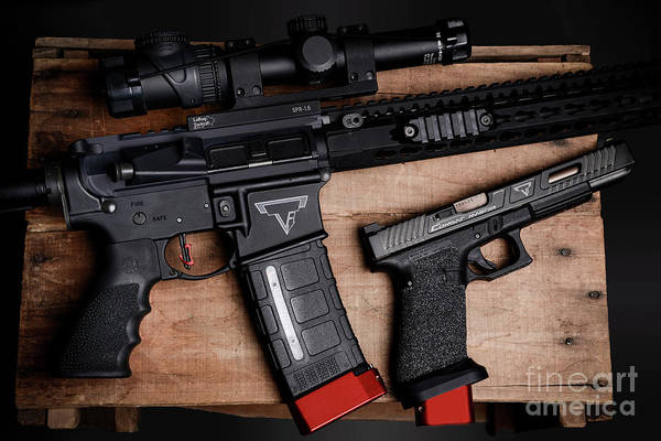 Sniper Photograph - Tactical Ar15 And Pistol by Jt PhotoDesign