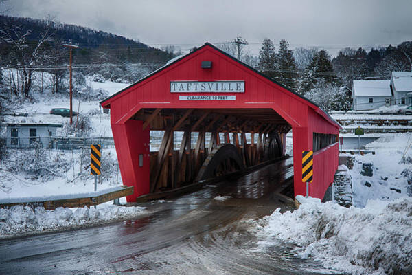 Photograph - Taftsville Covered Bridge In Winter by Jeff Folger