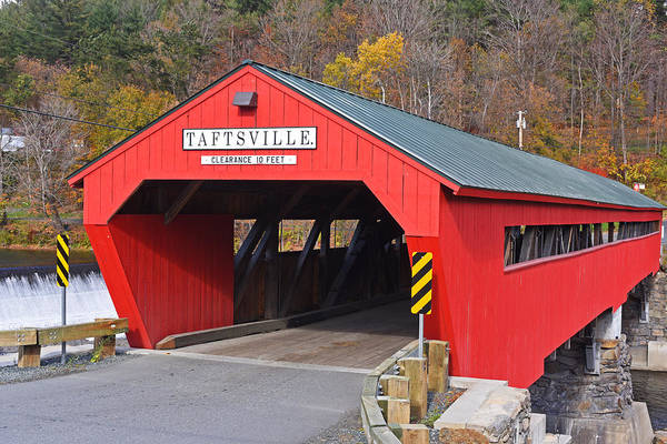 Photograph - Taftsville Vermont Red Covered Bridge Autumn Waterfall by Toby McGuire
