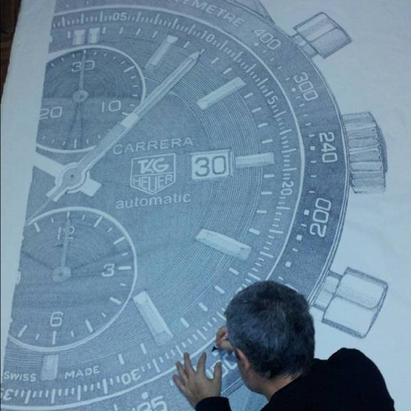 Wall Art - Photograph - Tag Heuer Carrera. Ink On Canvas by Drawspots Illustrations