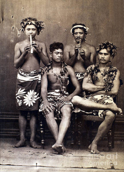 Photograph - Tahiti: Men, C1890 by Granger