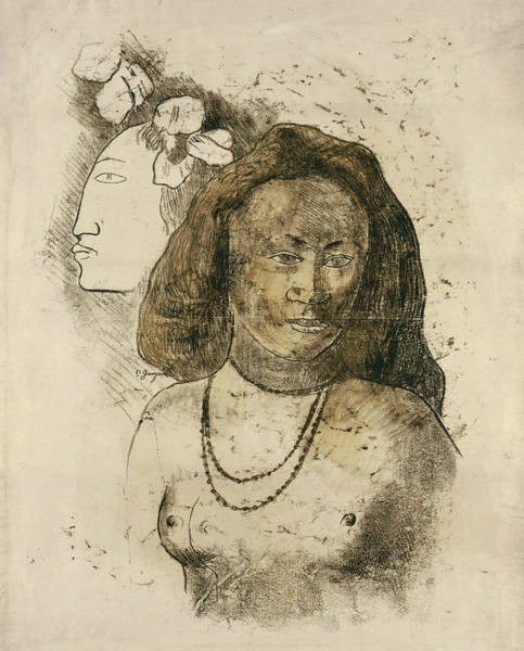 Drawing - Tahitian Woman With Evil Spirit by Paul Gauguin