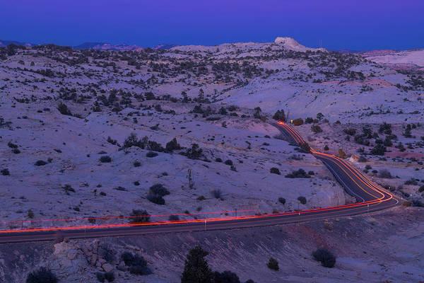 Tail Light Photograph - Tail Lights On Highway 12 Grand Staircase Escalante Utah by Steve Gadomski