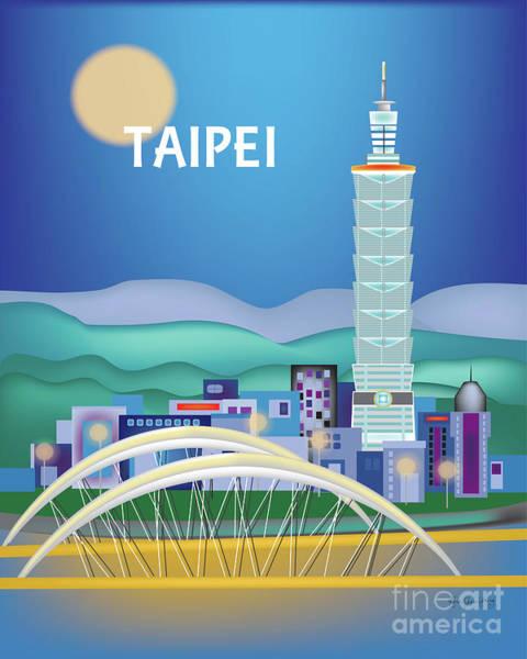 Wall Art - Digital Art - Taipei Taiwan Vertical Skyline by Karen Young