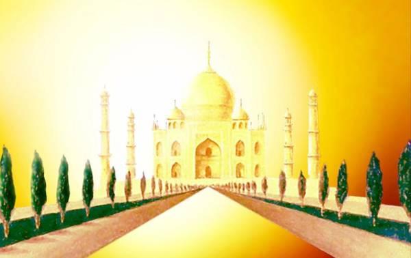 Mixed Media - Taj  Mahal by Hartmut Jager