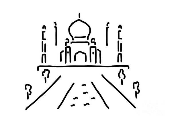 India Drawing - taj mahal India agra by Lineamentum